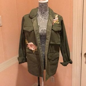 Olive army jacket with rose embroidery